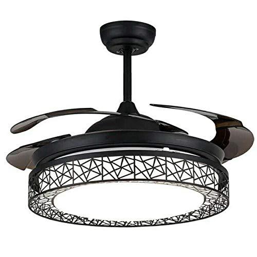 Ventilador de techo de 100 cm con luz y mando a distancia, lámpara de araña negra, LED de ventilador moderna