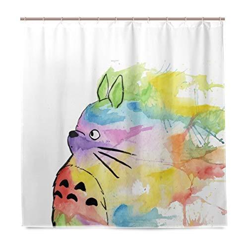 My Rainbow Totoro Polyester-Duschvorhang für Badezimmer, Druck-Set mit rostfreien Ösen, 152,4 x 182,9 cm