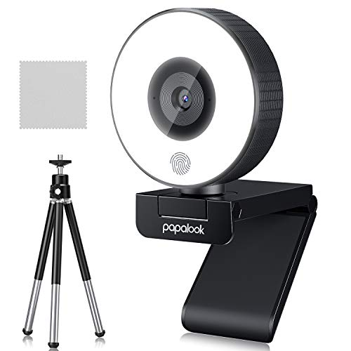Webcam with Ring Light,MAYOGA papalook FHD 1080p Webcam with Built-in Microphone,Beauty Camera, Gaming Web Camera for Computers,Video Streaming, Windows Mac Os, Meeting, Online Classes,Xbox