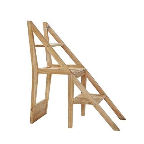 YIJIAN Multifunktionsleiter Stuhl Dual-Use Einfacher Haushalt Klapp Massivholzleiter Racks 4-Stöckige Treppe Hocker Stühle Kunst Dekoration/Holzfarbe/Einheitsgröße