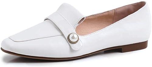 XLY Chaussures Plates Plates pour Femmes en Cuir de Vachette décontracté à Bout carré décontracté à Enfiler sur des Chaussures Mocassins,blanc,38  qualité de première classe