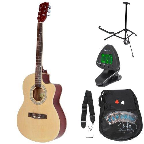 ts-ideen 4/4 Akustik Gitarre Westerngitarre Natur mit Tasche, Gurt und Zubehörset