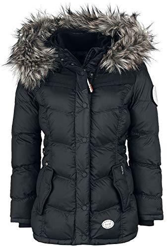 khujo Damen Jacke WINSEN4 mit Abnehmbarer Kapuze und Kunstfellbesatz Winterjacke Steppjacke, Schwarz, L