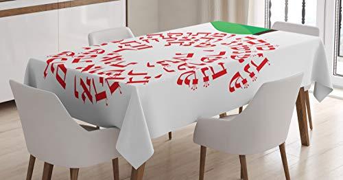 ABAKUHAUS ebraico Tovaglia, Shana Tova Apple con Wishes, Rettangolare per Sala da Pranzo e Cucina, 140 cm x 170 cm, Vermilion Verde