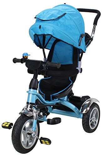 Miweba Kinderdreirad Schieber 7 in 1 Kinderwagen - 360° Drehbar - Luftreifen - Heckfederung - Laufrad - Dreirad - Schubstange - Ab 1 Jahr (Blau)