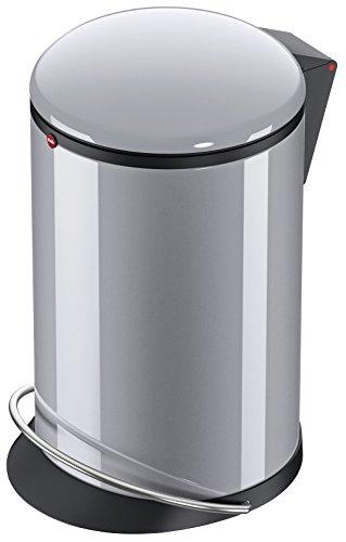 Hailo Harmony M, Mülleimer aus Stahlblech, 12 Liter, breite Metall-Fußreling, Müllbeutel-Klemmung, Deckeldämpfung (Soft Close), silber, Made in Germany, 0515-020