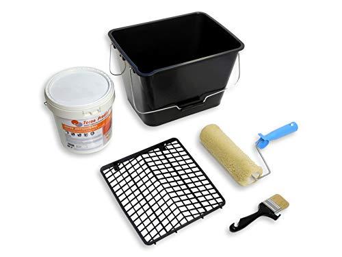 IMPER ANTIGOTERAS de Tecno Prodist - 5 Kg (BLANCO) Pintura Impermeabilizante elástica para Terrazas - (A Rodillo o brocha) + Kit Especial con Rodillo Felpon, Cubeta, Rejilla y Paletina.