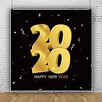 Qinunipoto 2020 happy new year 背景布 写真撮影用 写真の背景 背景幕 撮影用 新年背景 新年を迎えて 人物撮影 写真館 自宅用 ビニール 無反射布 写真スタジオ 写真 カスタマイズ可能な背景 2.5x2.5m