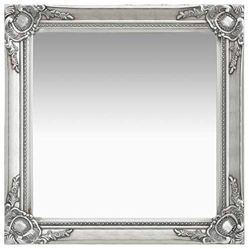 vidaXL Wandspiegel im Barock-Stil Antik mit Montagehaken Dekospiegel Hängespiegel Badspiegel Spiegel Flurspiegel Garderobe 60x60cm Silbern