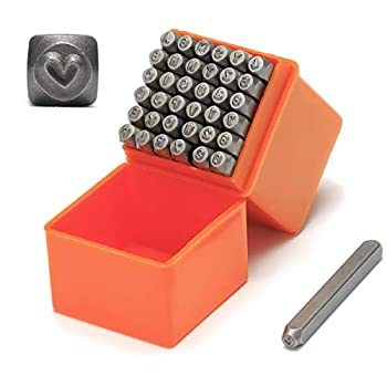 """RIVTUN Professional 37-Piece Steel Metal Stamping Tool Set,Number & Capital Letter Stamp Set  A-Z & 0-9 + Love   1/8""""  3mm for Jewelry Craft Stamping"""