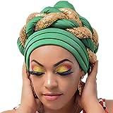 Frenzy African Fashions Turban Headbands Pre-Tied Head Wrap Women Headtie Aso Oke Auto Gele Braided Scarf African Headwear Chemo Cap (green)