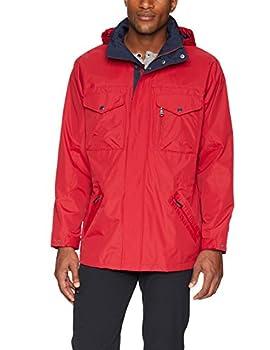 IZOD Men s Rain and Wind Resistant Preformance Jacket with Hidden Hood red X-Large