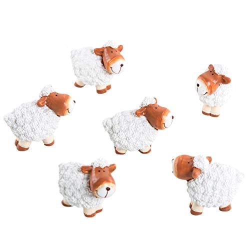 Logboek-uitgeverij 6 kleine schapen wit bruin paasdecoratie figuren tafeldecoratie decoratie lente Pasen Give Away Pasen geschenk mini schaap 5 cm meegebsel Pasen