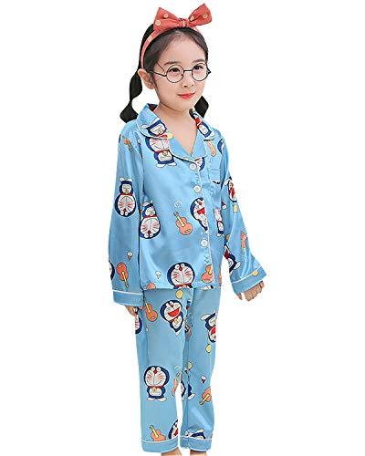 FyoFya Pijama para Niñas Niños, Satín Camisón Pijamas Dos Piezas Ropa de Dormir para Niños Camiseta Dibujos Animados Impresos y Pantalones lencería Neglige Camisones (Doraemon, 120)