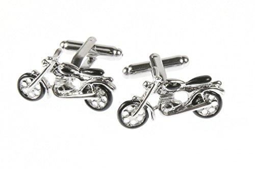Miniblings Motorrad Manschettenknöpfe Knöpfe + Box Bike Biker Motocross Enduro - Herrenschmuck Manschettenknopf Cufflinks Hemdknöpfe I Holzbox inklusive