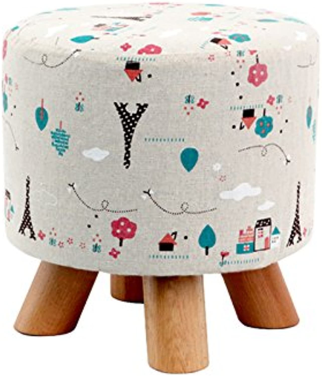 Dana Carrie Stool Fashion on a Low stool Solid Wood Creative Adult Round stool Home Fabric Sofa Chair Small Chair, a Bench, Four Legs Tower