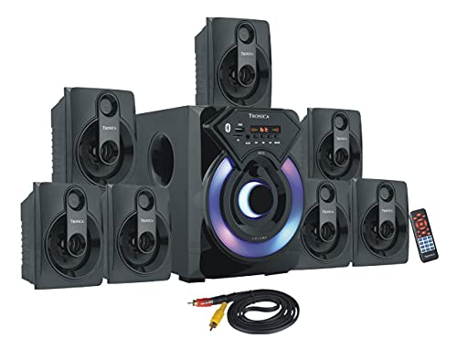 """TRONICA COWIN Series 7.1 Channel Home Theatre System – Bluetooth, USB,FM, SD, RCA Inputs,AUX, LED TV Supported 4 Inch Active Subwoofer, 3"""" Passive Radiator, Vivid Lights, Wireless Remote"""