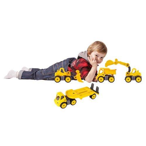 BIG Power Worker Mini Set, 4 Stk. gelb - Kipper, Radlader, Transporter, Bagger - Sandspielzeug Strandspielzeug