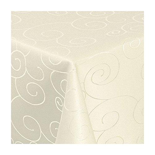 TEXMAXX Damast Tischdecke Maßanfertigung im Ornamente-Design in Creme-Champagner 130x190 cm eckig, weitere Längen sind wählbar