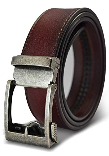 Classic Men's Leather Ratchet Click Belt - Antique Silver Buckle with Brown Rosewood Leather Belt (Trim to Fit: Up to 33'' Waist)