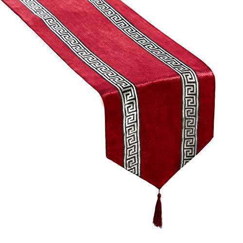 Top Finel Rayas geométrico de Color Corredor de la Tabla de Mezcla Camino con borlas para la Cena artística Fiesta decoración de la Boda Mesa de Comedor Manera(33cmX180cm) Rojo