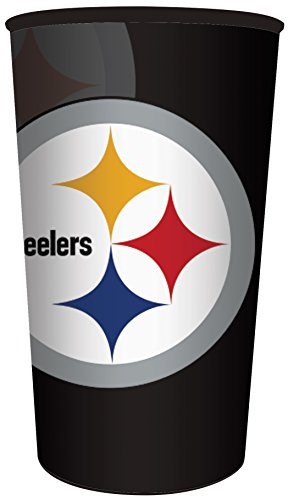 Creative Converting Officially Licensed NFL Plastic Souvenir Cups, 20-Count, 22-Ounce, Pittsburgh Steelers