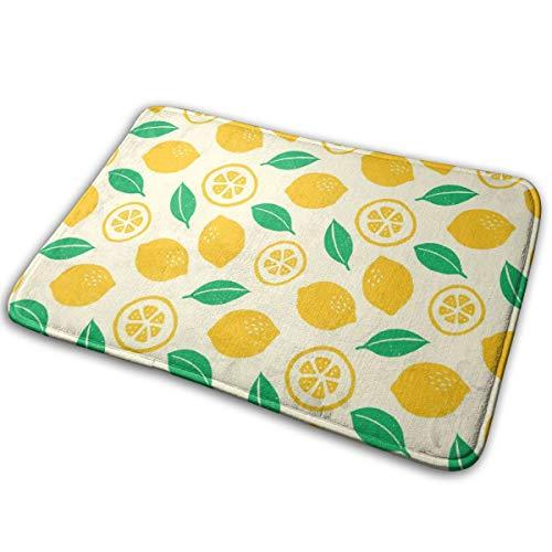Pengyong Gummimatte für den Außenbereich, gelb, zitronengrün, Blättermotiv, für Veranda, Garage, große Durchflüsse, Standardteppich, 60 x 40 cm