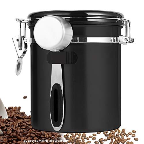 ZealBoom Kaffeedose Luftdicht mit Messlöffel, Kaffeedose Edelstahl Kaffeebohnenbehälter Vorratsdose Aromadose Vakuum Dose für Kaffeebohnen, Kaffeepulver, Tee, Nüsse, Kakao und Mehr, 1,5Liter Schwarz
