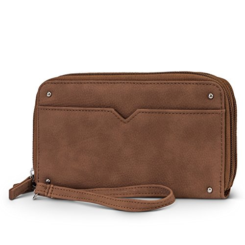 Mundi Double Zip Vegan Leather Womens RFID Clutch Wallet With Wristlet Strap (Brown Sugar)