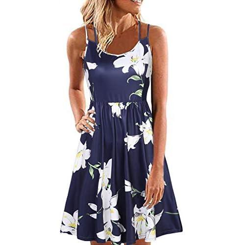 YOINS Women Sleeveless Spaghetti Strap Mini Dress Sexy Floral Dress Round Neck Beach Dress Beachwear Sundresses