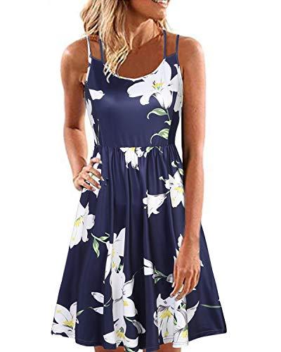 YOINS Strandkleider Damen Sommer Casual Sommerkleid Damen Kurz Strand Schulterfrei Elegant Kleider Ärmellos Minikleider Dunkelblau XL
