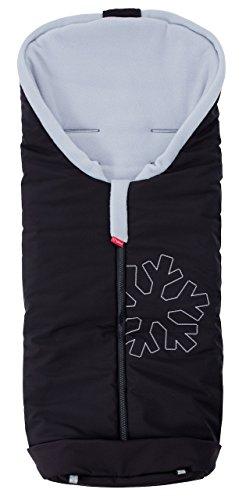 ByBoom® - Saco para pies termo-activo Softshell para carritos y sillas de paseo, Color:Negro/Gris