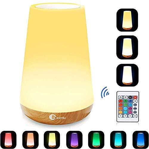 Caxmtu LED Kinderzimmer Nachtlicht Touch Lampe Nachttischlampe für Kinder Schlafzimmer wiederaufladbar Dimmbar mit Fernbedienung und Timing-Funktion