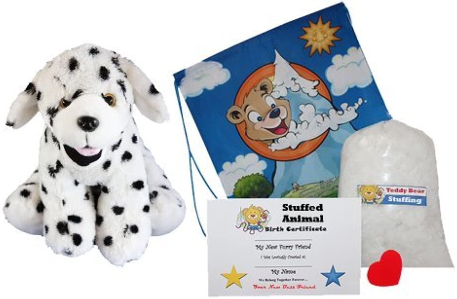 Make Your Own Stuffed Animal Domino the Dalmation -No Sew-Kit With Cute Backpack  by Stuffems Toy Shop
