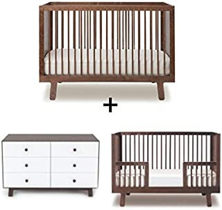 Oeuf Sparrow Collection Complete Nursery in Walnut with 6 Drawer Dresser