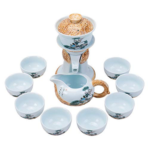 Kung Fu tea set ceramic teapot cup coffee cup semi-automatic tea maker best gift Coffee Servers (Color : Blue)
