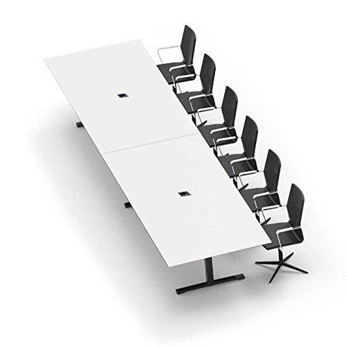 Weber Büro Jazz Konferenztisch 320 x 120 cm Weiß Besprechungstisch Meetingtisch Tisch, Gestellfarbe:Schwarz