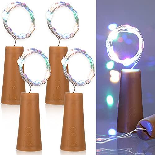 4 Piezas Luces de Botella de Vino 3,3 Feet Luces de Botella de Vino de 10 LED Cadena de Luces de Alambre Cobre de Botella Mini Luces de Cadena de Colores para DIY Navidad Halloween Boda