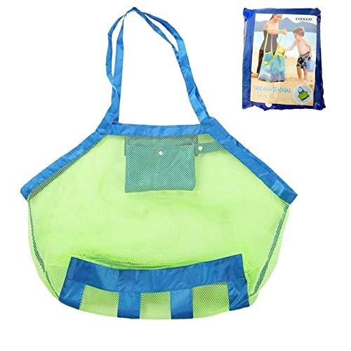 COOLGOEU Strandtasche Strandspielzeug Tasche XXL Groß für Sandspielzeug Wasserspielzeug für Kinder Aufräumsack Spielsack Badetasche Beachbag Faltbar für Familie Urlaub f(Grün Mesh/Blau Strap)