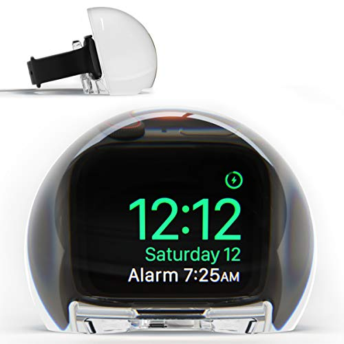NightWatch Magnifying Clock Dock for Apple Watch - Nightstand Charging Station   Amplify Alarm and Display   Ultimate Bedside Night Mode Stand