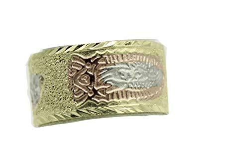 Diamantados of Fla Virgen De Guadalupe Morenita - Anillo Chapado en Oro de 18 Quilates de Tres Tonos (Talla 7)