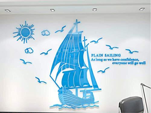Glad 3D-wand, driedimensionaal, voor bedrijfscultuur, wand, decoratie voor kantoor 150 x 101cm Trompette Bleue de Ciel