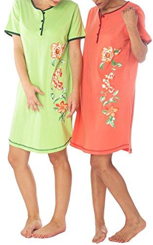 Consult-Tex Damen Nachthemd Baumwolle 2 er Packung DF614 ab 48/50