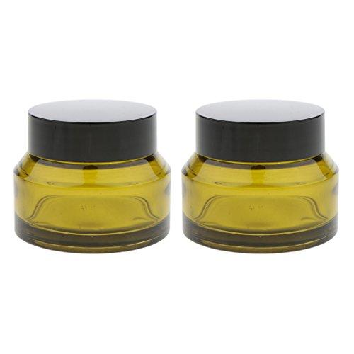 Botella de Muestra Cosmética Del Viaje Del Tarro Del Maquillaje Del Envase Portátil de Cristal 2pcs - 50g