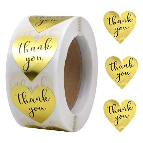 500 Pieza Forma de Corazón Pegatinas Etiquetas Gracias, 2.5cm Thank You Etiquetas Adhesivas, Autoadhesivas Pegatinas de Agradecimiento Rollo para Scrapbooking Regalo Embalaje Sobre (Dorado)