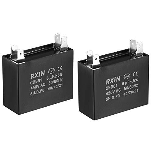 sourcing map Eine Packung von 2 Deckenventilator Kondensator Polypropylen Film Doppeleinsatz Metallisiert Kondensatoren für Wasserpumpe Motorgenerator für Einphasenmotor CBB61 6uF 450V AC