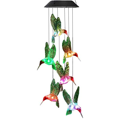 Deals Solar Wind LED Chime - Colorful Color Changing Wind Chimes Garden Lamp Wind-Bell for Home Decor Party (Hummingbird)