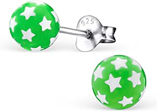 Children's Green Ball with Little White Stars Earrings - Silver Ear Studs with Plastic Part