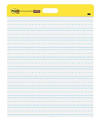 Post-it Super Sticky Wall Easel Pad, 20 x 23 Inches, 20 Sheets/Pad, 2 Pads (566PRL), Portable White Primary Ruled Premium Self Stick Flip Chart Paper, Rolls for Portability, Hangs with Command Strips