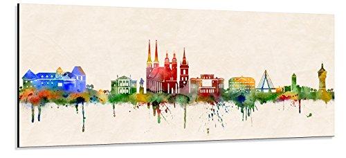 Acrylglas Wandbild Halle (Saale) Skyline Panorama - Acrylglas mit Alu-dibond-Aufhängesystem - Farbe (div. Größen) - Kunst Druck auf Acrylglas 20x50cm